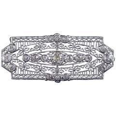 1920s Filigree Diamond Bar Brooch