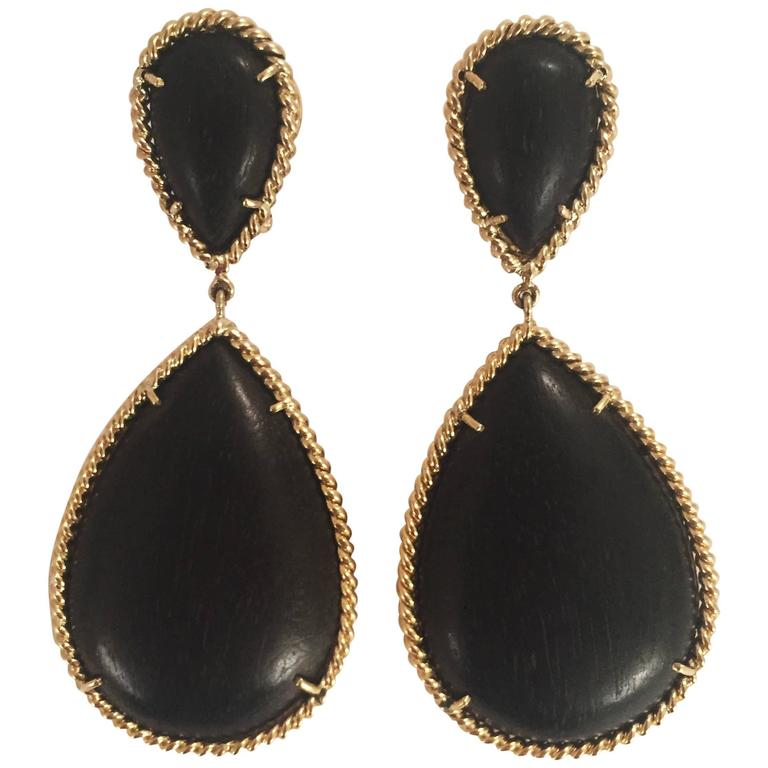Elegant Ebony Wood Drop Earring with Twisted Gold Border For Sale