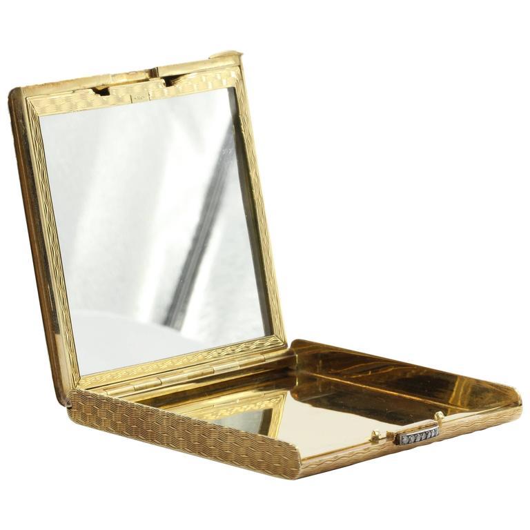 Vintage 18k Gold And Diamond Italian Cigarette Compact