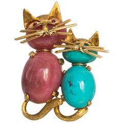 Happy Kitties Brooch