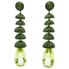 Yellow and Green Sapphire Gold Chandelier Earrings