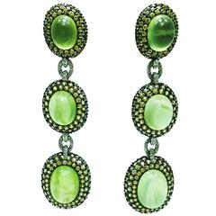 Green and Yellow Sapphire white gold Oval Earrings