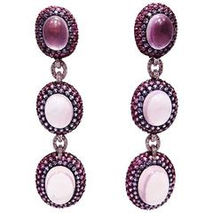 Pink Sapphire Ruby Rose Quartz White Gold Oval Earrings