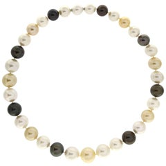 Multicolor South Sea and Tahiti Pearl Necklace