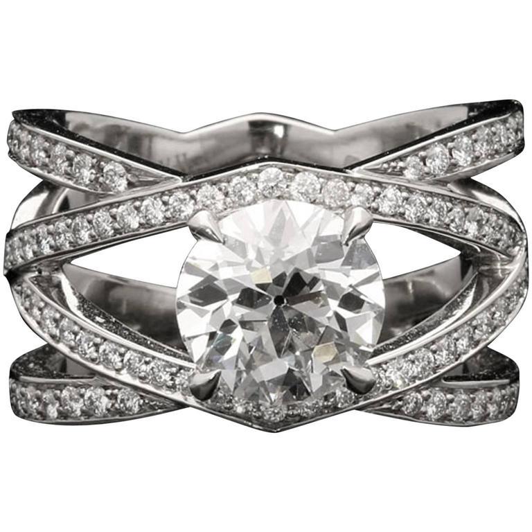 Hancocks Diamond Platinum Openwork Criss Cross Ring For