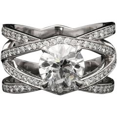 Hancocks Diamond Platinum Openwork Criss Cross Ring