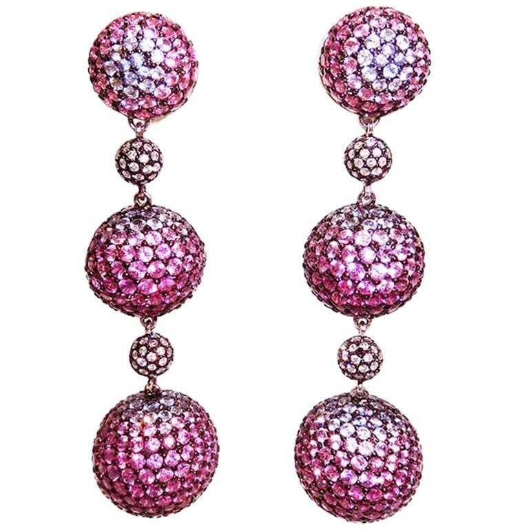 Graduated Three Balls Sapphire Ruby Pink Sapphire Diamond White Gold Earrings  1