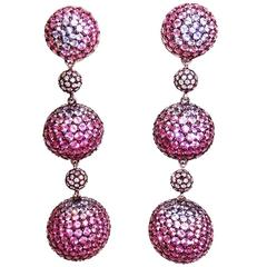Graduated Three Balls Sapphire Ruby Pink Sapphire Diamond White Gold Earrings