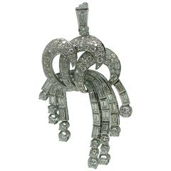 Late Art Deco Diamond Platinum Cascade Pendant