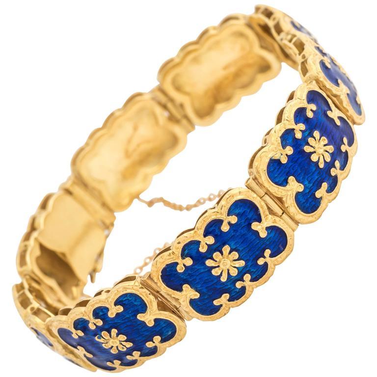 Blue Enamel Gold Scroll Design Bracelet