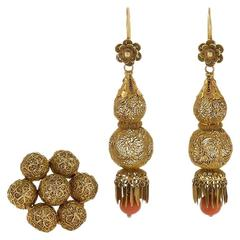 Antique Chinese Gold and Coral Earrings and Brooch Suite