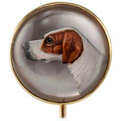 1900s English Bloodhound Essex Crystal Stick Pin