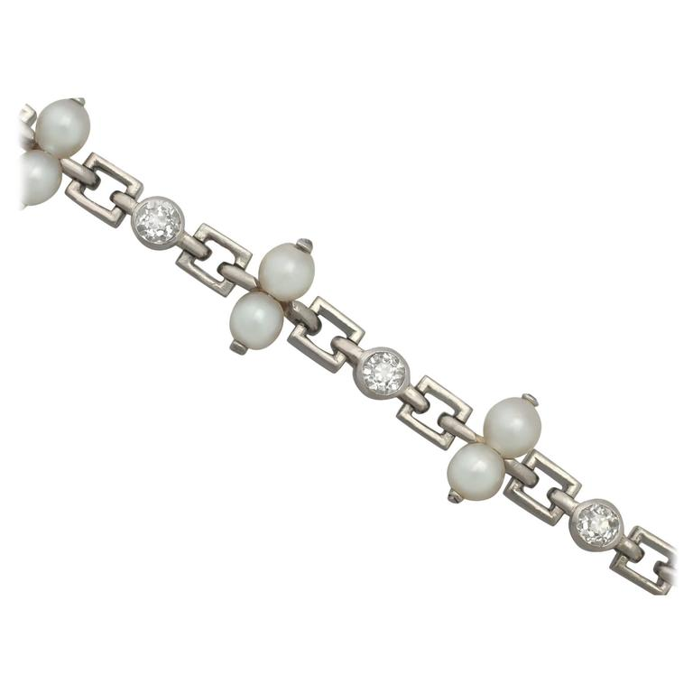 1940s 0.82 Carat Diamond and Natural Pearl, Platinum Bracelet
