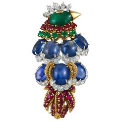 David Webb Sapphire Ruby Emerald Diamond Bird Brooch