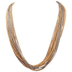 Heavy Twisted Rope Multi Strand  Gold Necklace