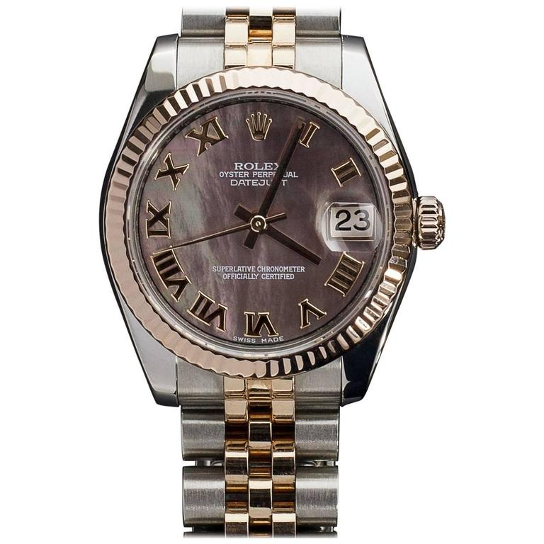 Rolex Two Tone Rose Gold Midsize 31mm Datejust Black Mop Dial Watch 178271