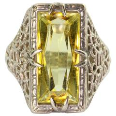 Antique Art Deco 14K White Gold Yellow Sapphire Ring