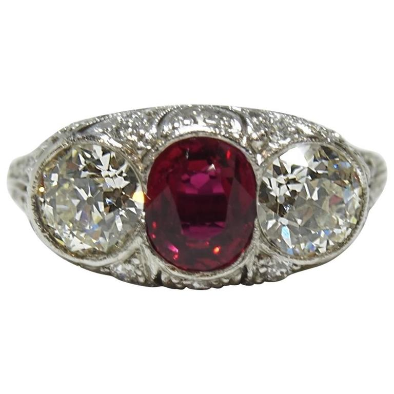 antique platinum and ruby ring for sale at 1stdibs