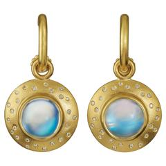 "22kt Gold ""Starry Night"" Disks with Blue Moonstone and White Diamonds"