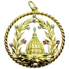 Ruby and Diamond Vatican Charm/Pendant