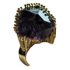 1980s Gold Amethyst Crystal Custom Ring