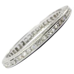 Circa 1935 Art Deco Platinum Diamond French Cut Eternity Band