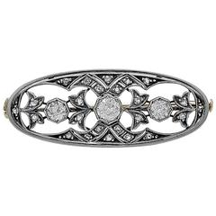 Antique Brooch 1.15 Carat Diamond Platinum