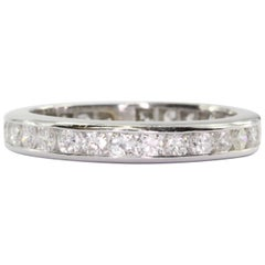 Vintage Platinum 1 CTW Diamond Eternity Band Ring Size 5