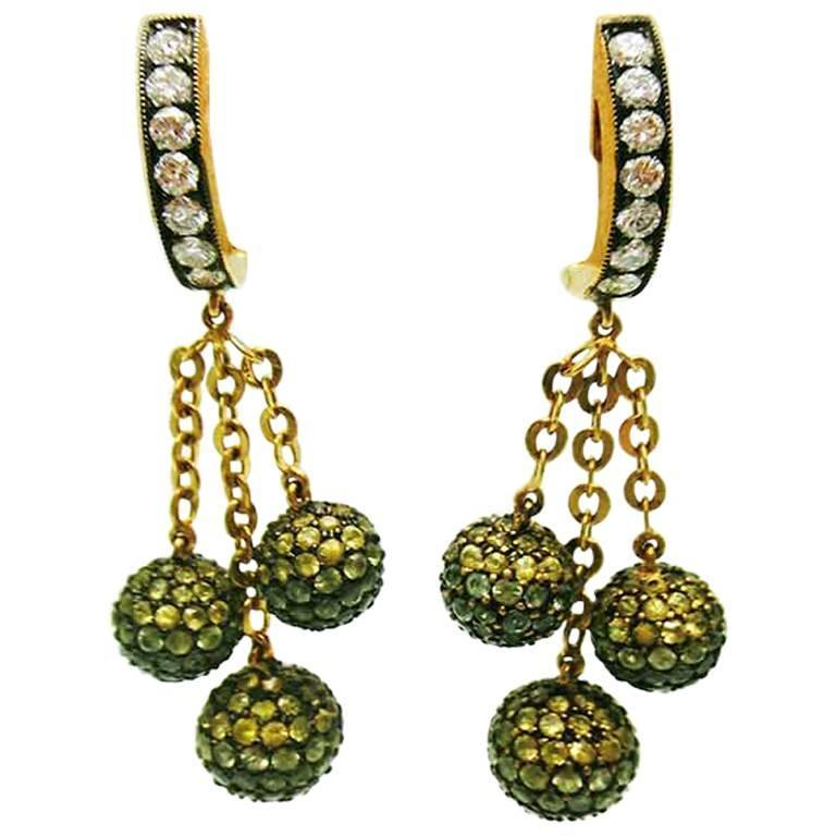 Three Balls Earrings with Green Sapphire, Yellow Sapphire and Diamond
