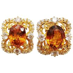 Victorian Yellow Sapphire and Diamond Earrings