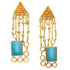 Turquoise Gold Earring