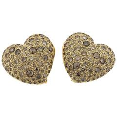 Pomellato Sabbia Gold Fancy Diamond Heart Earrings