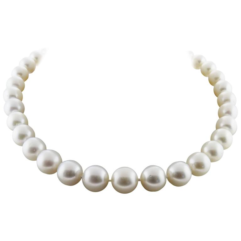 AAA South Sea White Pearl Necklace with Diamond 18K White Gold Clasp GLA cert