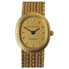 Tiffany & Co  Yellow Gold Ladies Oval Bracelet Watch  Quartz Movement