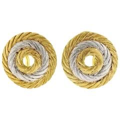 Buccellati Two Color Gold Circle Earrings