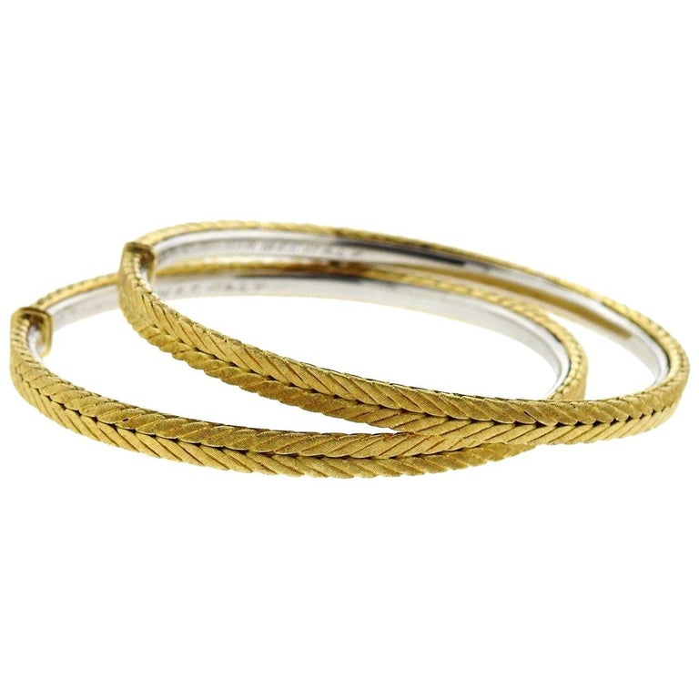 Buccellati Gold Braided Large Hoop Earrings For Sale