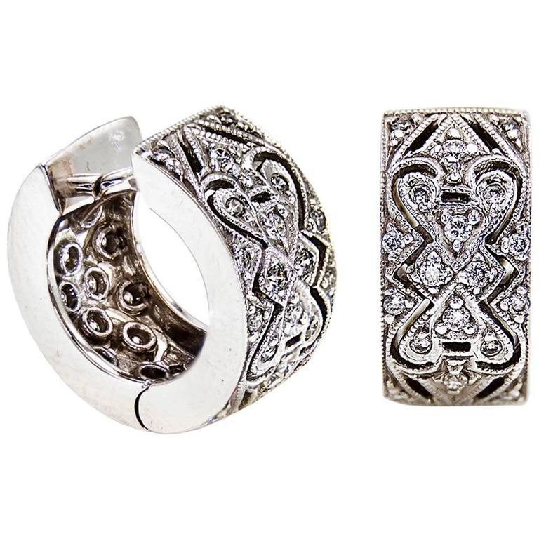 Diamond Filigree Hugging Hoop Earrings