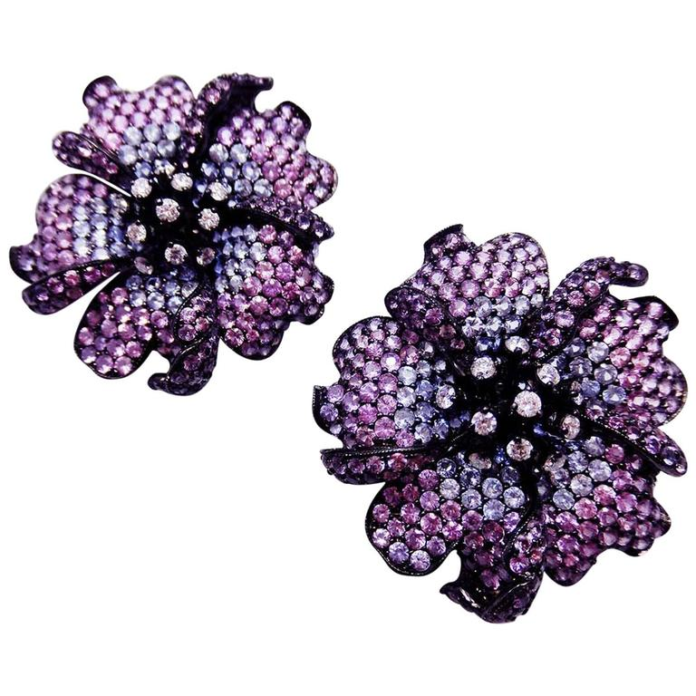 Big Mun flower earrings with Purple sapphire,Sapphire and Diamond For Sale