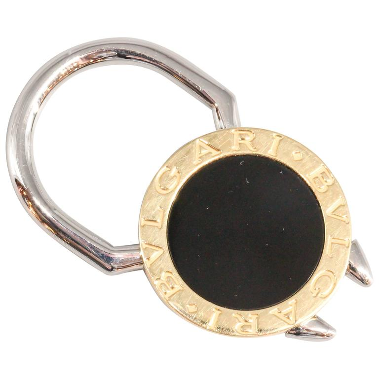 BULGARI Onyx, Gold and Stainless Steel Keychain 1