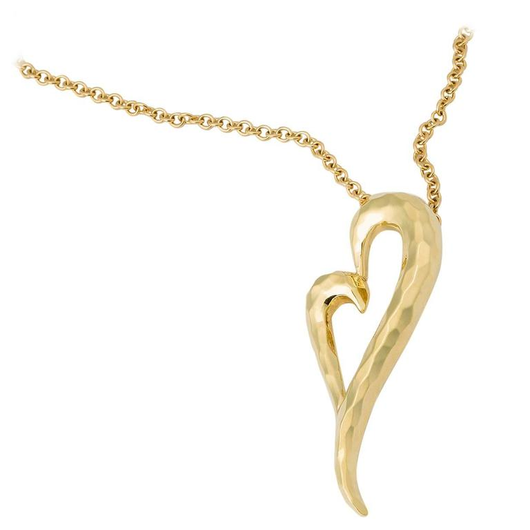 Henry Dunay Gold Faceted Heart Pendant For Sale