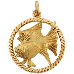 Chantela Yellow Gold Pisces Fish Pendant