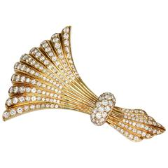 Mid-Century Diamond and Gold Brooch