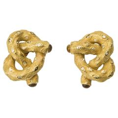 Nicholas Varney Diamond and Citrine Pretzel Earrings