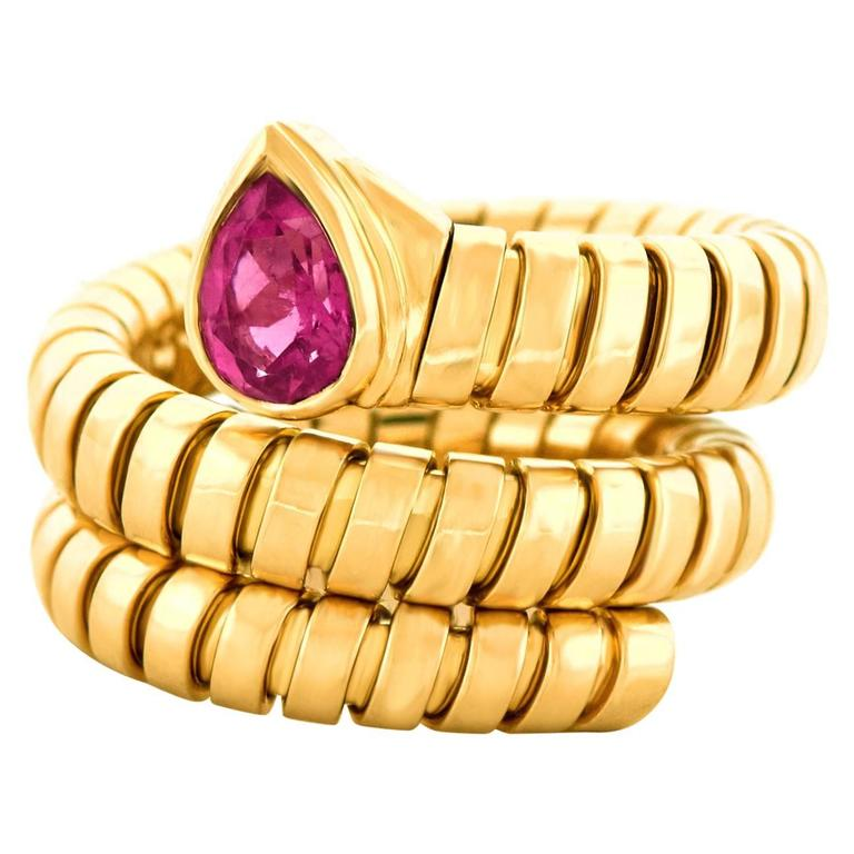 Bulgari Yellow Gold Serpenti Tubogas Ring For Sale