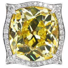 14.46 Carat GIA Fancy Intense Yellow Old Mine Cut Diamond and Platinum Ring