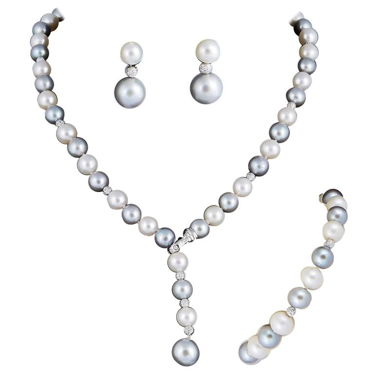 Round Grey or White Cultured Pearl Lariat Necklace Bracelet Earrings Suite