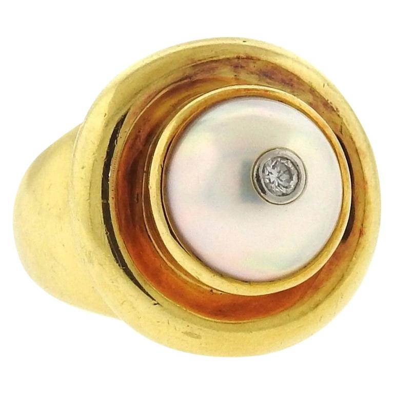 Tiffany & Co Paloma Picasso Gold Pearl Diamond Ring