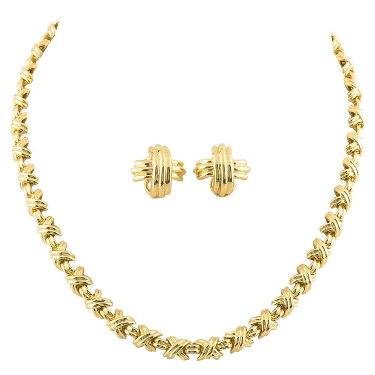 Tiffany & Co. Paloma Picasso Signature X Gold Necklace and Earrings For Sale