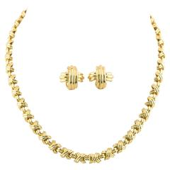 Tiffany & Co. Paloma Picasso Signature X Gold Necklace and Earrings