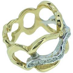 S. Van Giel Diamonds and Gold Modernist Wedding Ring